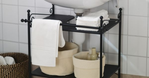 R?NNSK?R Sink shelf, black Extra Storage, Pipes and Sinks