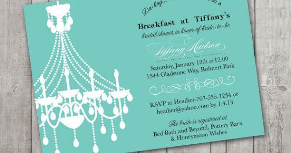 Printable Personalized Invitations- Breakfast at Tiffanys ...