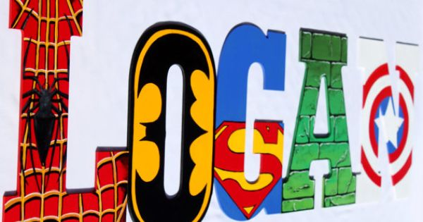 Superhero Hand Painted Wooden Letters-Superman, Spider-Man, The Hulk, Cptn America, Batman, Wolverine,