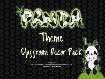 Panda Classroom Theme Decor Set Classroom Themes Kindergarten Classroom Themes Classroom