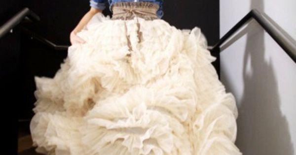 Country wedding dress. Long sleeve denim shirt, full length tiered tulle skirt,