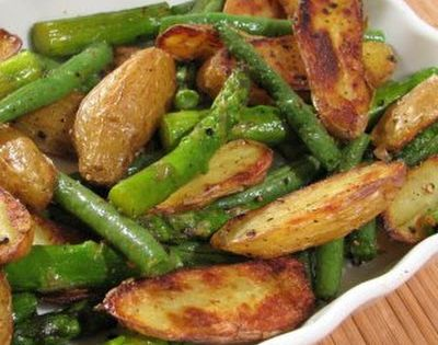 For the Love of Cooking » Roasted Fingerling Potatoes, Asparagus and Green