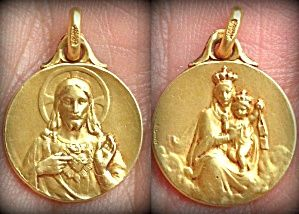 119 Vintage Signed E Dropsey Gold Medal Virgin Mary Sacred Heart Jesus Image1 Lovely Gold Holy Medal Featuring Sacred Heart Art Sacred Heart Blessed Mother