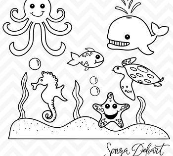 Clipart Sea Creatures Ocean Animals Black Line Art Sea Animals Drawings Animal Clipart Animals Black And White
