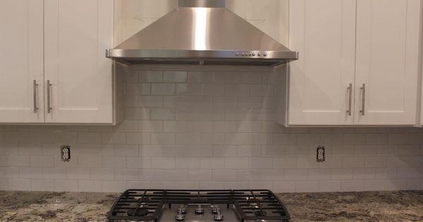 White subway tile backsplash 42 upper custom white for Kitchen cabinets 42 uppers
