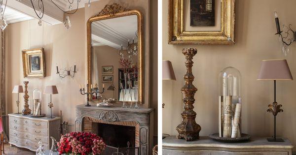 Chemin e de style rocaille en bois patin e grand miroir for Grand miroir bois brut