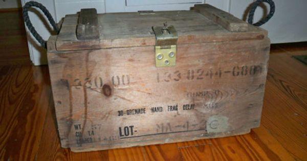 Vintage 1960 S 1970s Vietnam War Grenade Wood Crate Box
