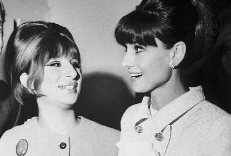 Audrey Hepburn with Barbara Streisand after a performace of Funny Girl AudreyHepburn
