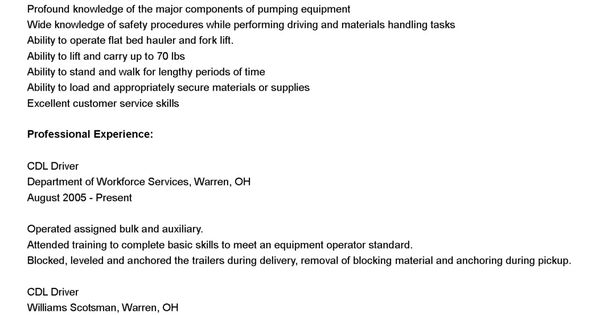 Cdl Driver Resume Samplesml Sample Best Images About Example High