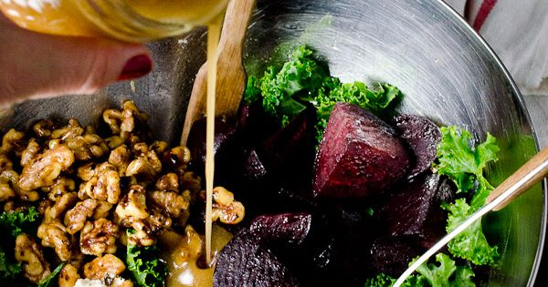 Roasted Beet and Kale Salad with Maple Candied Walnuts