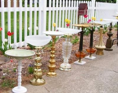 Bird baths made from old lamp bases - wow... too bad Chris