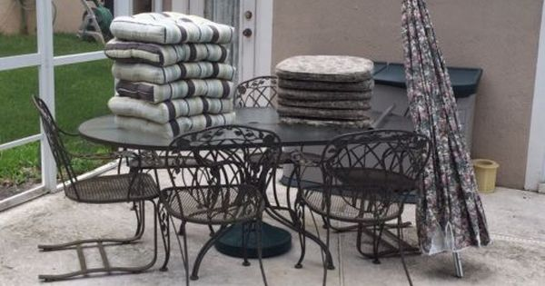 Vintage Lyon Shaw Wrought Iron Patio Table Chairs And Umbrella