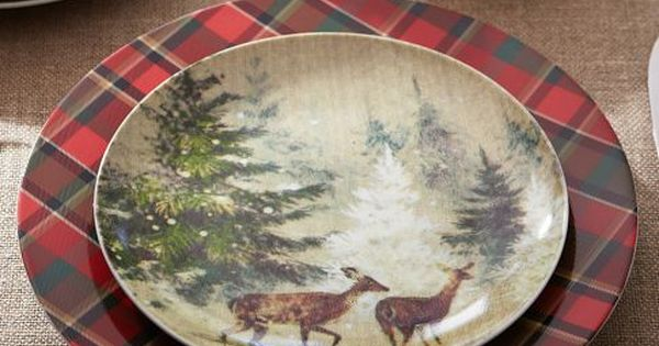 Love These Tartan Plates And Deer In Snow Salad Plates