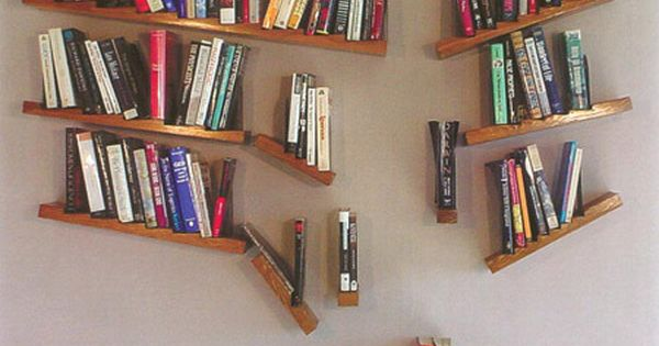 Creative Bookshelves: falling books shelf