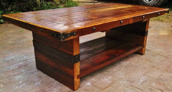 Old world style coffee table reclaimed by for Table 850 wood