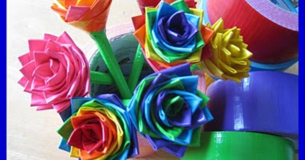 Duck Tape flower pen tutorial
