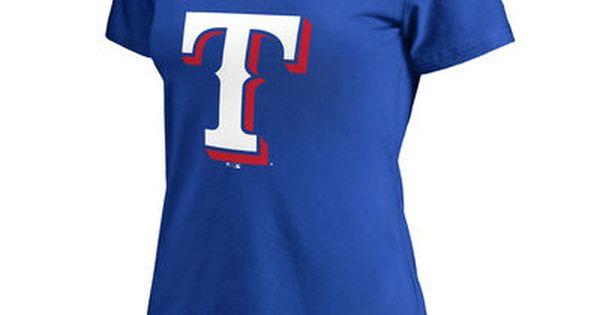 Women S Texas Rangers Royal Plus Sizes Primary Team Logo Slim Fit T Shirt Shirts Shirt Online Celtics Apparel