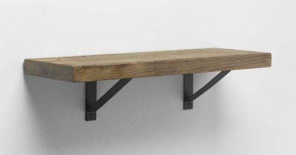 Wooden bedside table designs - Reclaimed Wood Shelf Black Basic Brackets West Elm