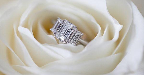 Emerald cut diamond engagement ring white rose wedding photo idea Toni Kami