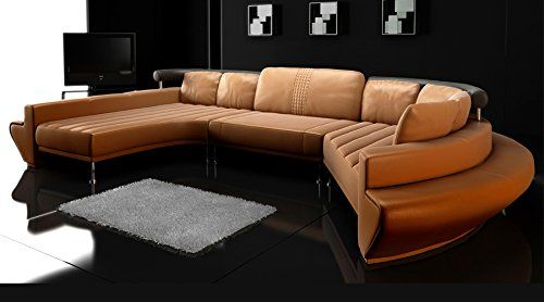 Rundsofa Leder Wohnlandschaft Halb Rund Sofa Couch U Form Chaiselongue Ledersofa Ledercouch Designsofa L Aquila Rundes Sofa Ledersofa Loft Mobel