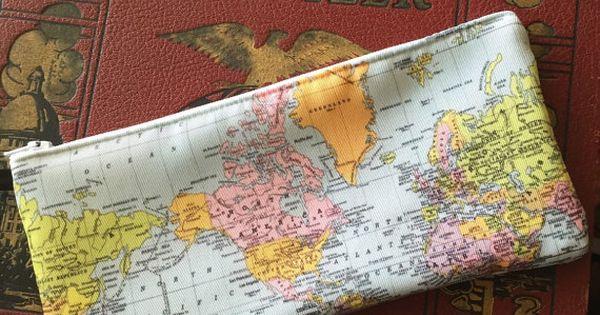 Cotton Vs Linen Curtains: World Map Pencil Case, Makeup Bag, Travel, Wanderlust