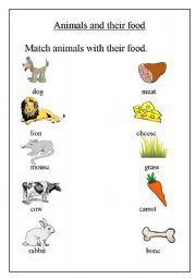 English Worksheet Animals And Their Food Animal Worksheets