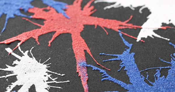 Fourth of July Firework Art. Glue and colored sand