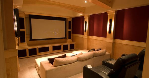 Media Room Chase Lounges And Speakers On Walls And Ceiling
