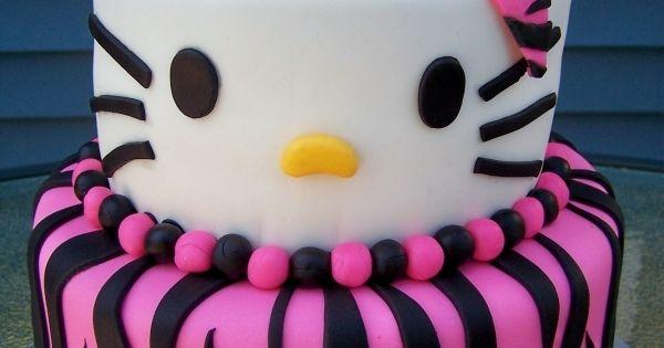 Hello Kitty Zebra Cake | Zebra Print Hello Kitty Birthday Cake -