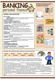English Worksheet Banking Personal Finance Personal Finance