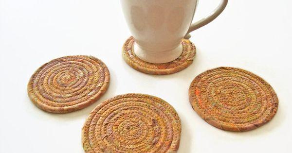 Tan Batik Coasters Set of 4 - Neutral Coiled Fabric ...