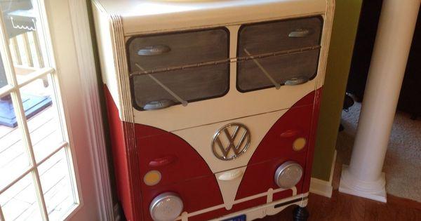 details about vw bus dresser furniture chest working headlights busse m bel und schminktische. Black Bedroom Furniture Sets. Home Design Ideas