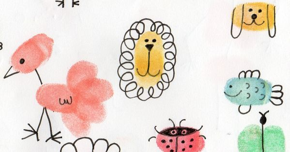les animaux avec les empreintes des doigts activit s manuelles d 39 int rieur pinterest. Black Bedroom Furniture Sets. Home Design Ideas