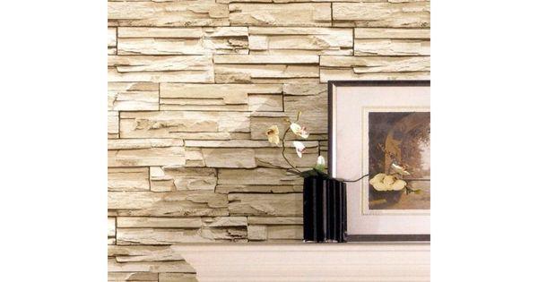 Papel pintado imitacion piedra y madera papel pintado for Papel pared efecto piedra