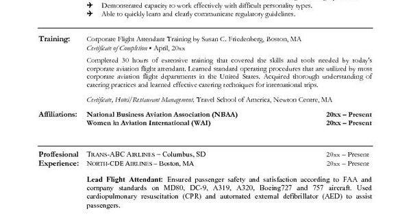 flight attendant example resume