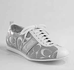 White and Silver Coach Shoes   Coach
