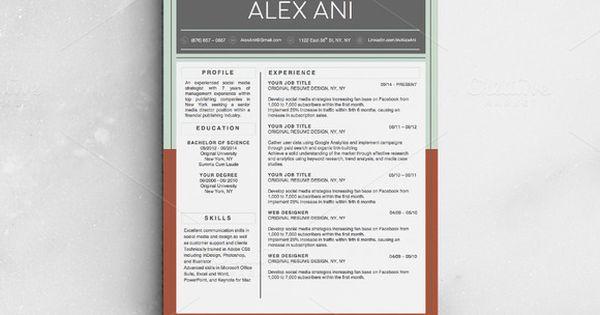 Alex Ani Modern 2-Page Resume Cool resumes, Shops and Beautiful - resume folder