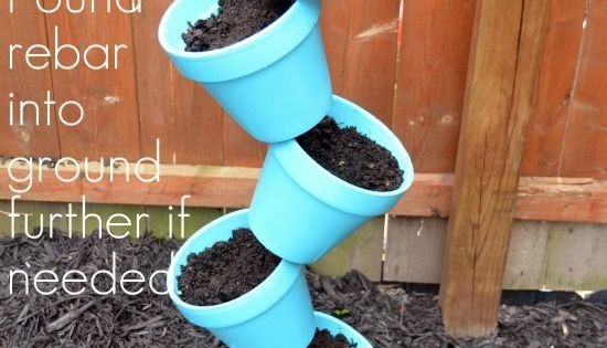 DIY Garden Planter & Birds Bath - Home Stories A to Z thread pots on rebar fill and plant top last pot with birdbath I'm thinking herb garden...