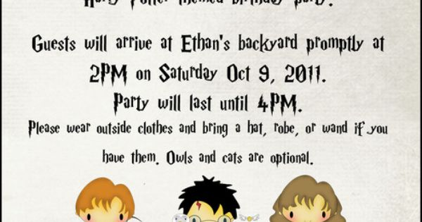 Aww saweet kids party idea... or mine.. Cute Harry Potter illustrated invitation