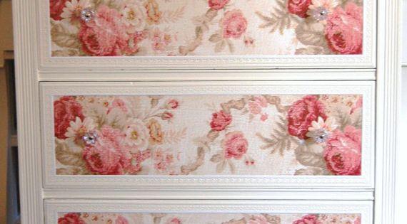 Shabby chic dresser using wallpaper--Christina loves this idea.