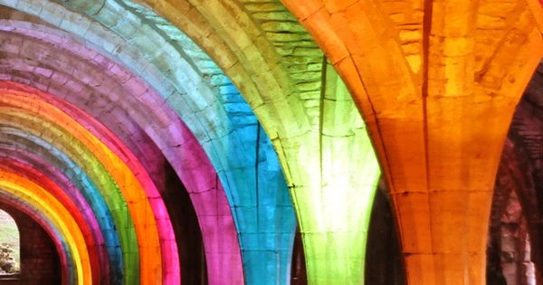 Rainbow arches at the Fountains Abbey - North Yorkshire, England, by Michael