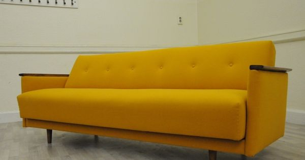 Original mid century 1950s sprung day bed sofa vintage for Sofa bed 60s
