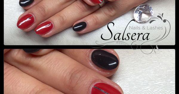 nails n gel fullcover rot schwarz stripes rund kurz nageldesign gel gepflegte h nde. Black Bedroom Furniture Sets. Home Design Ideas