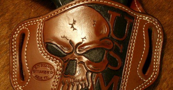 Colt 1911 With Skull Pistol Grips Amp Skull Usmc Leather