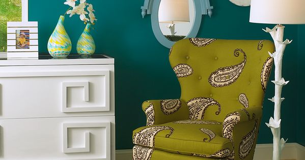Dark teal walls accented by lime green and white. Jewel-like and perfect.