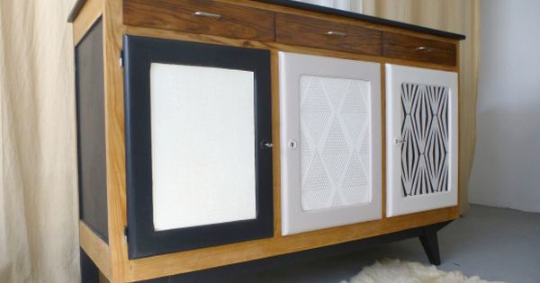 buffet vintage bahut enfilade scandinave meuble en bois. Black Bedroom Furniture Sets. Home Design Ideas