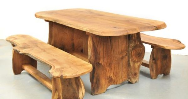 rustic solid wood garden tables and benches from slabs of