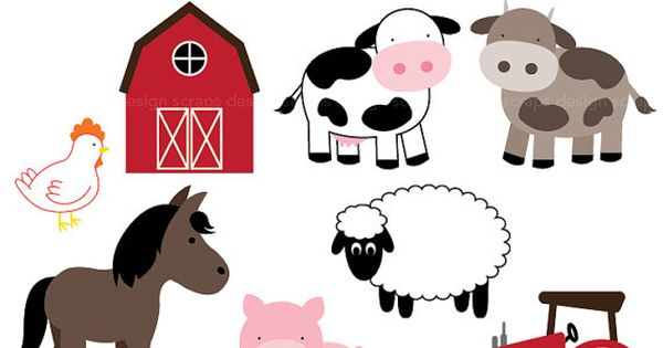 farm animal clip art graphics pig horse cows by ...