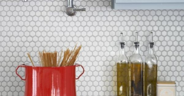 Simple kitchen tiles design - White Hexagon Tile Backsplash Home Elements