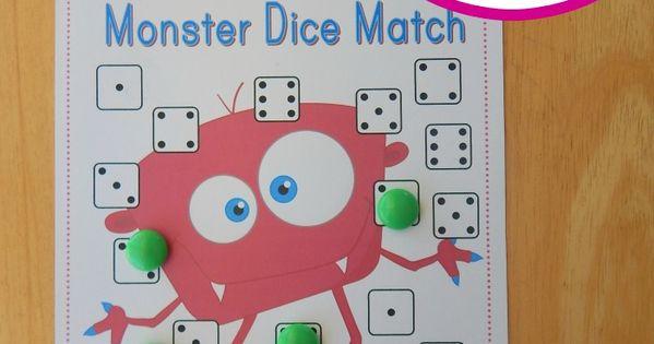 Free Preschool Math Game Monster Dice Match Dice